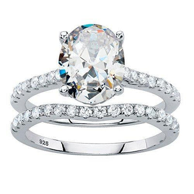 Platinum over Sterling Silver Oval Cut and Round Cubic Zirconia 2 Pair Bridal Ring Set Size 9