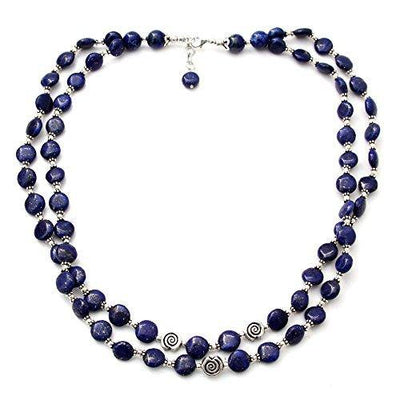 NOVICA Lapis Lazuli .925 Sterling Silver Beaded Strand Necklace 'Midnight Breeze'