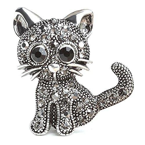 GUAngqi Women's Crystal Cat Pin Brooch Holiday Gifts