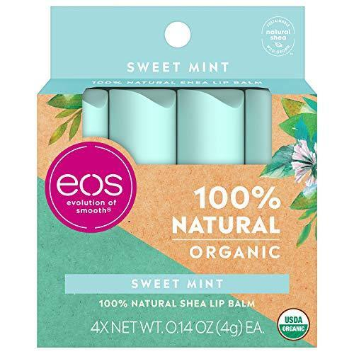 eos USDA Organic Lip Balm - Sweet Mint | Lip Care to Nourish Dry Lips | 100% Natural and Gluten Free | Long Lasting Hydration | 0.14 oz | 4 Pack