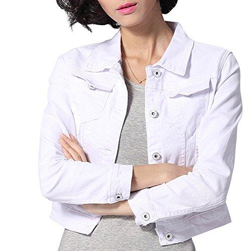 Dasior Women's Slim Fit Short Cropped Button Down Jean Denim Jacket with Pockets S White - PRTYA