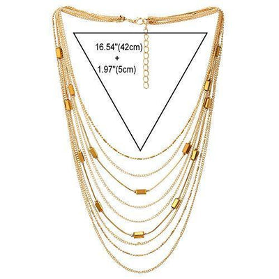 COOLSTEELANDBEYOND Gold Statement Choker Collar Necklace Waterfall Multi-Strand Chain with Rectangle Crystal Bead Charm