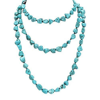 POTESSA Turquoise Beads Endless Necklace Long Knotted Stone Multi-Strand Layer Necklaces Handmade Jewelry 59""