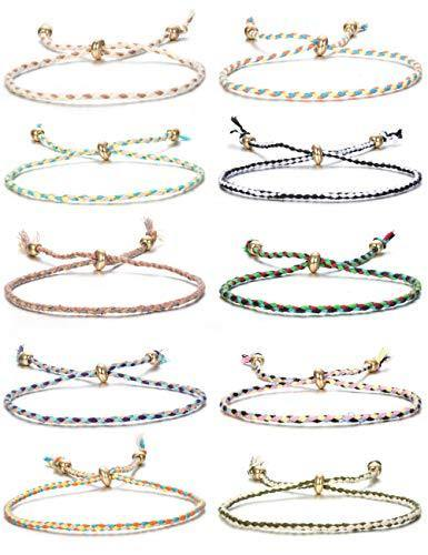 Jstyle 10Pcs Friendship Braided Bracelet for Women Colorful Handmade String Wrap Bracelets for Wrist Anklet Cord Adjustable Birthday Gifts