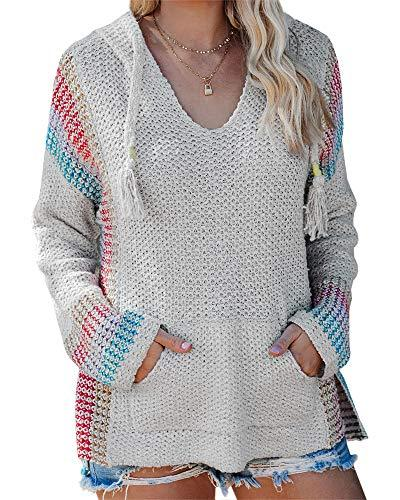 Ferbia Women Boho Pullover Sweater Striped Color Block Hooded Knit Mexican Baja Hoodie Loose Slouchy Long Sleeve Jumper Grey