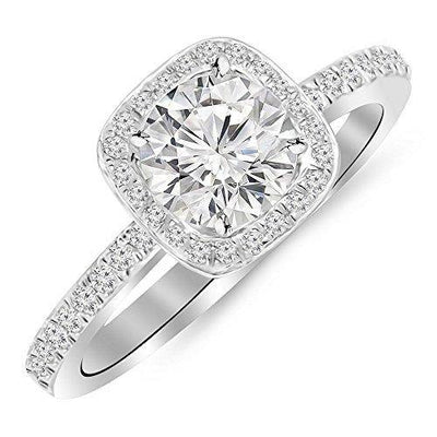 1 Carat 14K White Gold Cushion Halo GIA Certified Round Cut Diamond Engagement Ring (0.75 Ct G Color SI1 Clarity Center Stone)