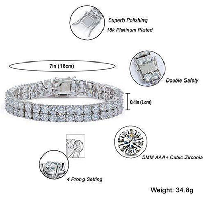 "JINAO 2 Rows AAA Gold Silver Iced Out Tennis Bling Lab Simulated Diamond Bracelet 8"" (7'' Silver)"