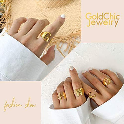 GoldChic Jewelry Gold Initial Letter Open Ring N Adjustable Women Statement Rings Party|Women's Signet Ring|18K Gold Plated Open Alphabet Rings|Letter A to Z