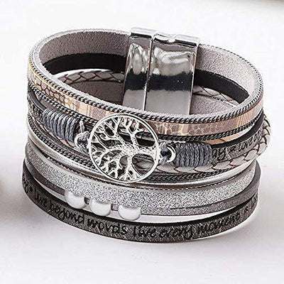 KSQS Tree of Life Multilayer Leather Wrap Bracelets,Boho Pearl Gorgeous Cuff Bracelet with Magnetic Buckle,Casual Bangle for Women