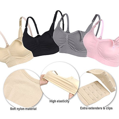 STELLE Body Silk Seamless Maternity Nursing Bra with Pads, Extenders & Clips (Black+Gray+Nude, L)