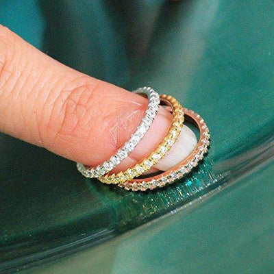 Round Cubic Zirconia Eternity Style Band .925 Sterling Silver Ring Size 5