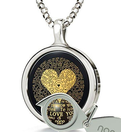 "925 Sterling Silver I Love You Necklace 24k Gold Inscribed in 120 Languages Including Braille and Sign Language on Round Black Onyx Gemstone Anniversary Pendant, 18"" Chain"