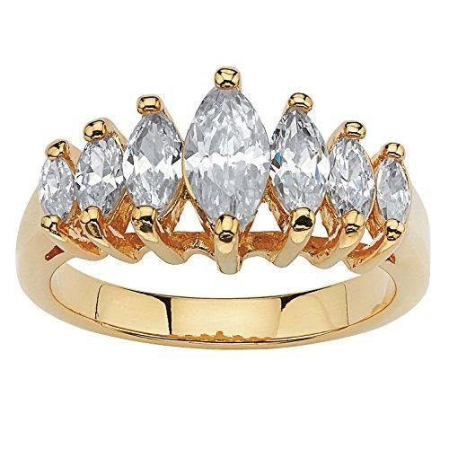 Palm Beach Jewelry 18K Yellow Gold Plated Marquise Cut Cubic Zirconia Graduated Anniversary Ring Size 9