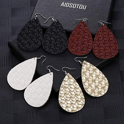 AIDSOTOU 16 Pairs Teardrop Faux Leather Earrings Set for Teens Girls Women Black and Red Animal Floral Print Leopard Print Lightweight Leather Dangle Drop Earrings (Leather & 16set)