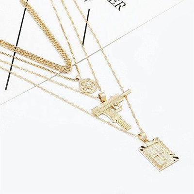 Exquisite Layered Choker Necklace Gold Cross Gun Multilayer Necklace for Women Pendant Chain Choker