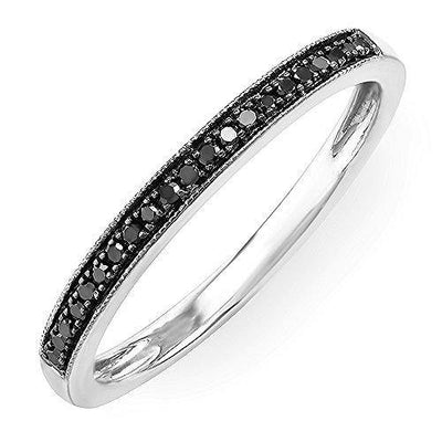 Dazzlingrock Collection 0.15 Carat (ctw) 14k Round Black Real Diamond Ladies Wedding Anniversary Millgrain Stackable Band Ring, White Gold, Size 7.5