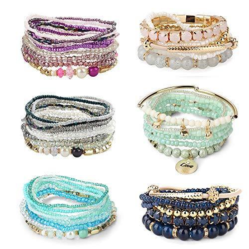 LOYALLOOK 6 Sets Bohemian Stackable Bead Bracelets for Women Stretch Bangles Bohemian Style Stretch Multilayered Bracelet Set