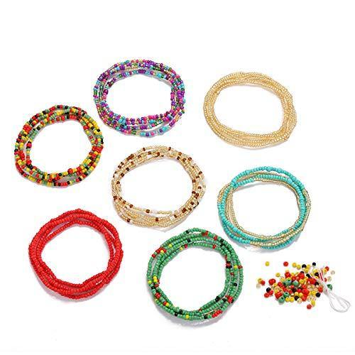 Waist Beads for Weight Loss Stretchy African Waist Beads for Women Plus Size with String and Charms (Multicolor, 43.5)