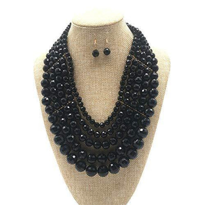 5 Layers Beaded Statement Necklace - Multi Strand Colorful Bead Layered Bib Necklace (Black)