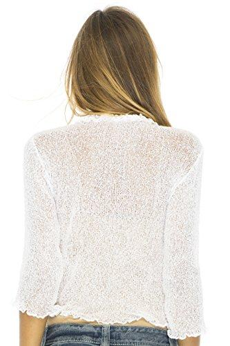 Back From Bali Womens Sheer Shrug Cardigan Sweater Ruffle Lightweight Knit  White One Size - PRTYA