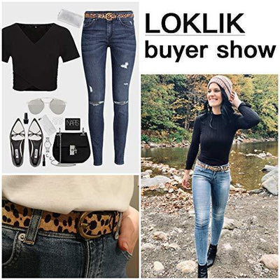 "Women's Leopard Print Leather Belt for Pants Jeans Waist Belt with Alloy Buckle By LOKLIK (M(32""-38""))"