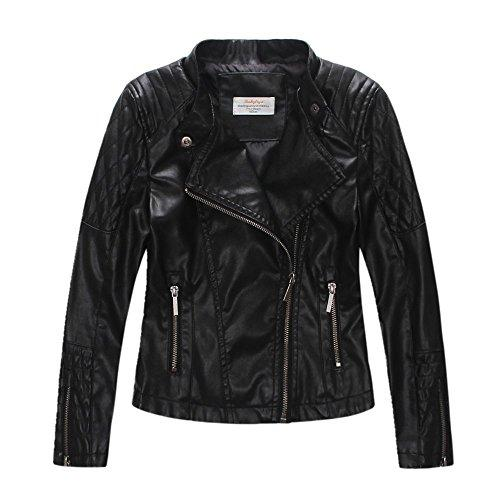 LJYH Girls'Faux Leather Quilted Shoulder Motorcycle Jacket Black