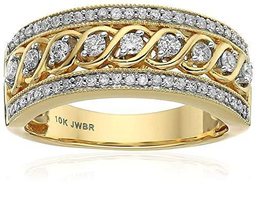 Jewelili 10kt Yellow Gold Anniversary Ring (1/2 cttw), Size 8