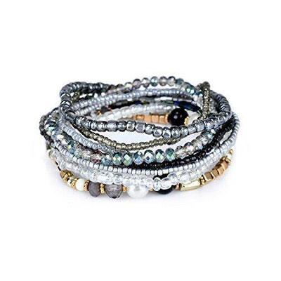 MengPa Beaded Bracelets for Women Girls Bohemian Stretch Stackable layering Strand Statement Jewelry (Grey) G3207C