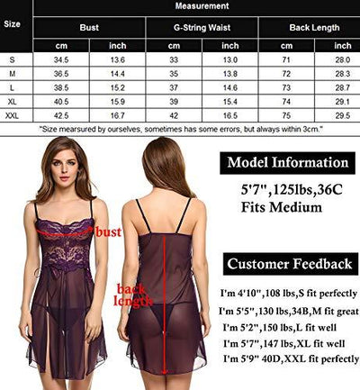 Avidlove Women Lace Lingerie Negligee V-Neck Split Chemise Nightie Purple Small - PRTYA