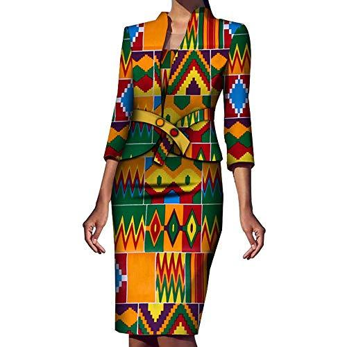 BAZINRICHE 2-Piece Suits for Women Set African Ankara Print Suit Skirt and Blazer - PRTYA