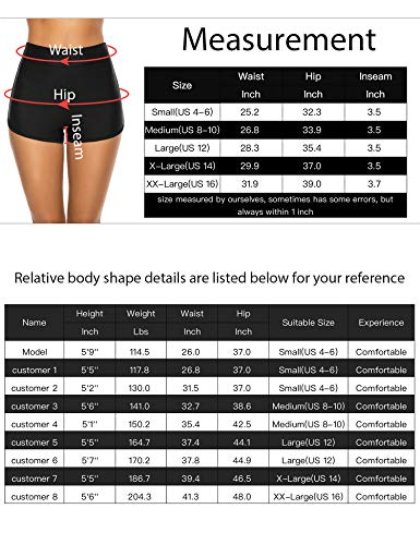 Lecieldusoir Women's Bikini Shorts High Waist Boyshorts Tummy Control Bathing Suit Bottoms Swimsuit Board Shorts Black