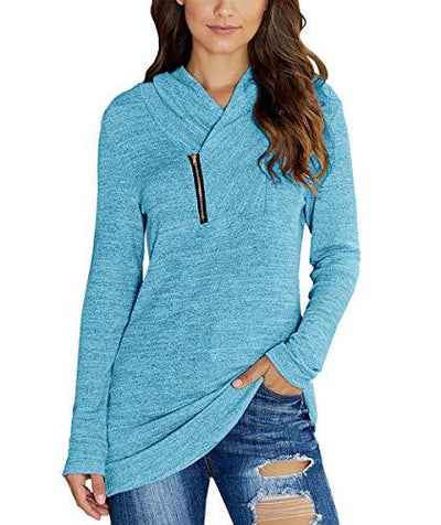 KIRUNDO 2019 Winter Women's Long Sleeves Pullover Zipper Cowl Neck Tops Solid Color Sporty Sweatshirts (Large, Blue)