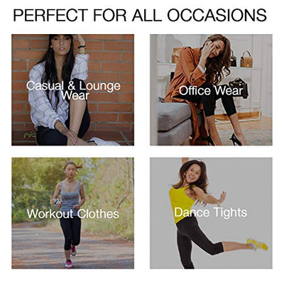 LMB Extra Soft Capri Leggings with High Wast - 20 Colors Packs - (One Size, Black)