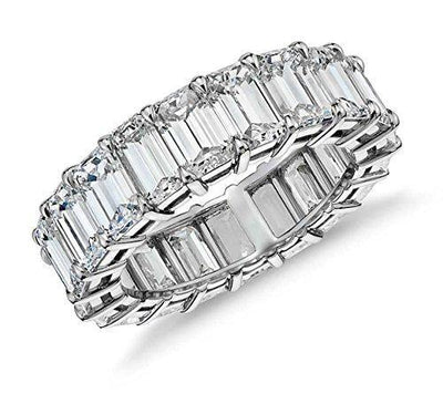 Sterling Silver Emerald Cut Eternity Band Cz Ring - Beautifully Crafted Eternity Ring with Emerald Cut Cz Stones (7)