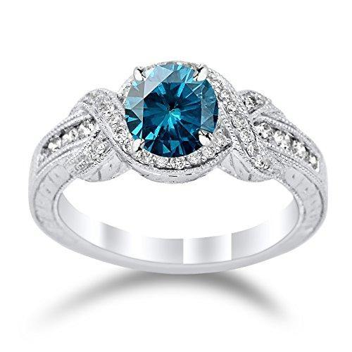14K White Gold Twisting Channel Set Knot Diamond Engagement Ring with a 1 Carat Blue Diamond Heirloom Quality Center