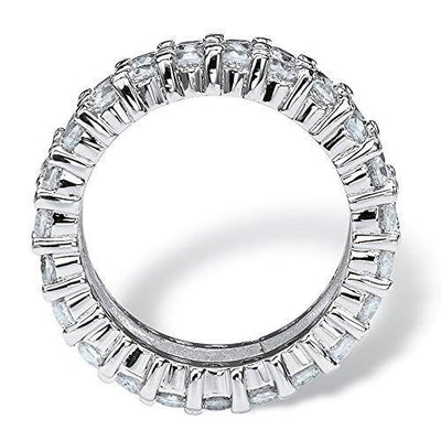 Platinum over Sterling Silver Baguette Cubic Zirconia and Round Eternity Ring Size 6