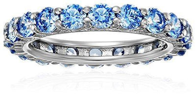 Platinum-Plated Sterling Silver Fancy Blue All-Around Band Ring made with Swarovski Zirconia, Size 8