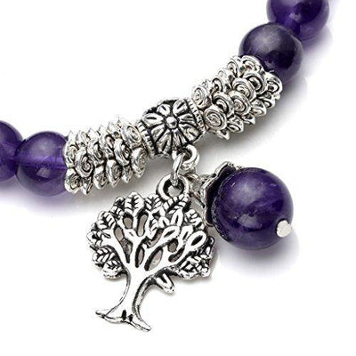 Jovivi 8MM Purple Amethyst Natural Gemstone Healing Point Tree of Life Lucky Charm Stretch Bracelet