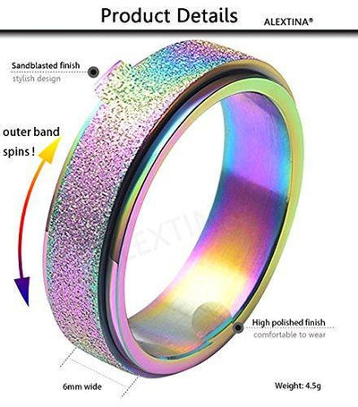 ALEXTINA Women's 6mm Stainless Steel Ring Spinner Band Sand Blast Finish Rainbow Size 7