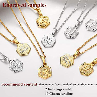 U7 Gold Initial Necklace for Women Mother Girls Minimalist Monogram Name Jewelry Alphabet Letter Pendant with Chain 18K Gold Plated Embossed Grain Tiny Hexagon Initial Necklace K, 18""