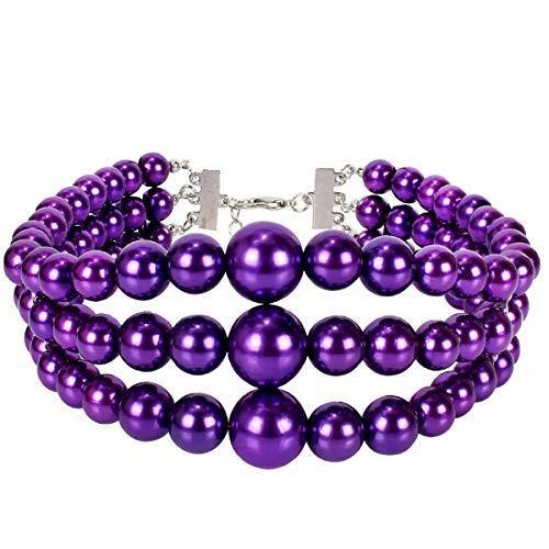 LuckyHouse Women's Three Layer Strand Simulated Faux Pearl Chain Collar Choker Statement Purple Necklace Costume Jewelry Necklace for Girls