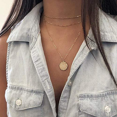 Coin Layered Necklaces for Women, 14K Gold Plated Layered Coin Necklaces for Women Jewelry