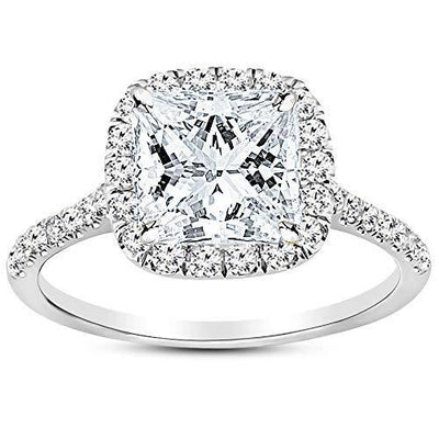 1.5 Carat Platinum Halo GIA Certified Princess Cut Diamond Engagement Ring (1 Ct G Color SI2 Clarity Center Stone)