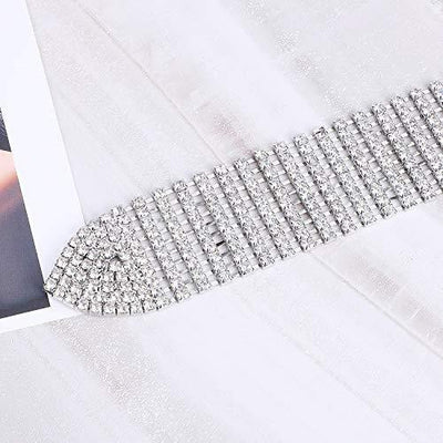 Women Rhinestone Belt Silver Shiny Diamond Crystal Ladies Waist Belt for Jeans Dresses Fit Waist Size 27-35 Inches by WHIPPY