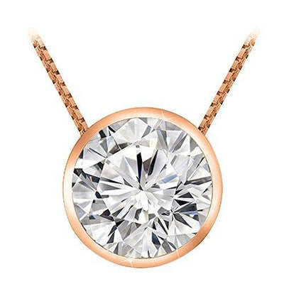 0.5 Carat 14K Rose Gold Round Diamond Bezel Solitaire Pendant Necklace H-I Color I2 Clarity