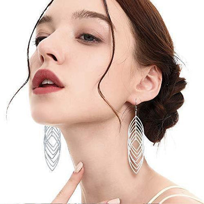 18 Pairs Drop Dangle Earrings Set Golden Silver Fringed Tassel Exaggerated Leaf Vintage Statement Earrings for Women Girls