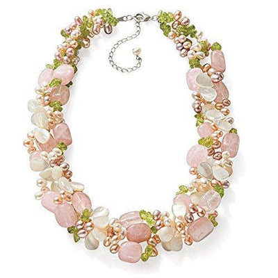 Ross-Simons 4-5mm Multicolored Cultured Pearl and Multi-Gemstone Torsade Necklace With Sterling Silver