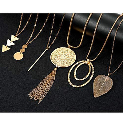 Fesciory 6 PCS Long Pendant Necklace for Women, Gold Bar Circle Leaf Triangle Tassel Y Necklace Set for Girls(Set 2)
