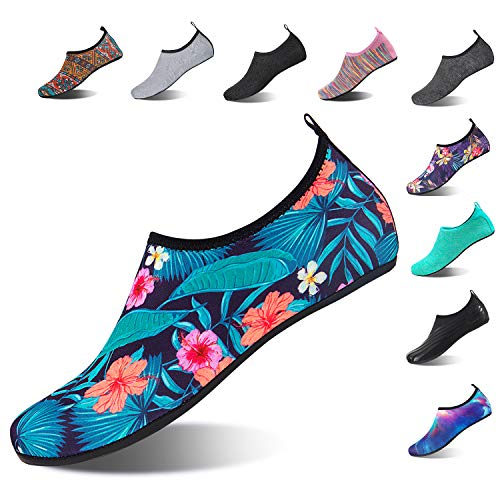 HMIYA Aqua Socks Beach Water Shoes Barefoot Yoga Socks Quick-Dry Surf Swim Shoes for Women Men (Forest, 38/39EU)