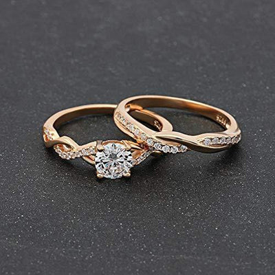 Ginger Lyne Collection Queena Bridal Wedding Ring Set for Women Rose Gold Over Sterling Silver Twist Vine Setting with 1 Carat Cubic Zirconia Engagement and Band Jewelry Size 5